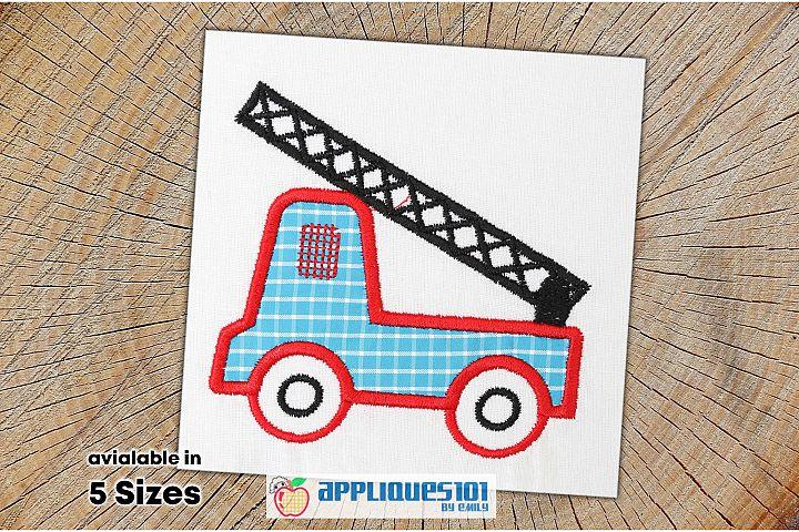 Fire Truck Machine Embroidery Applique Design - Trucks