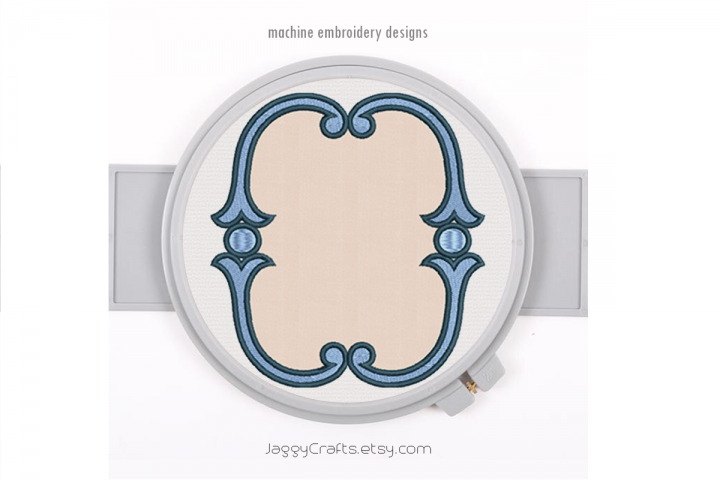 Simple vintage applique oval monogram font frame