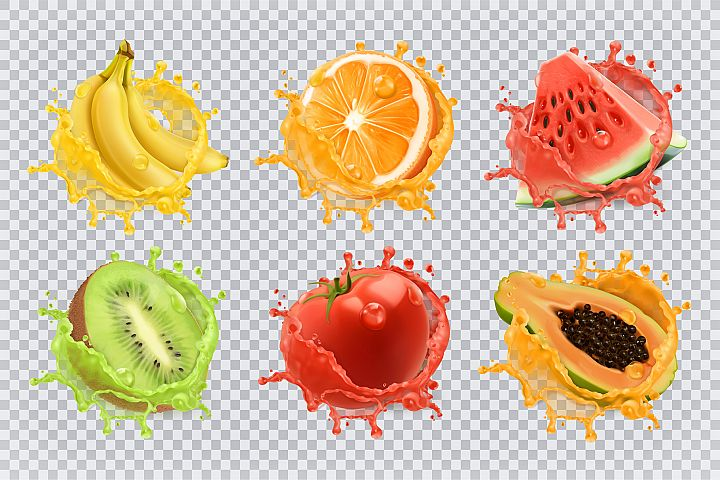 Orange juice, kiwi, banana, tomato juice, watermelon, papaya