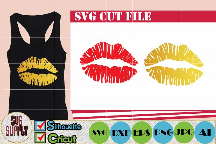 Gold Lips SVG Cut File