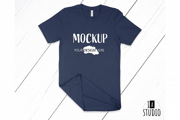 Bella Canvas 3001 Navy T-Shirt Mockup / Flat Lay Mockup