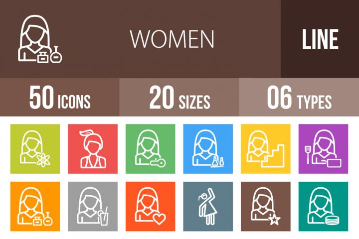 50 Women Line Multicolor B/G Icons