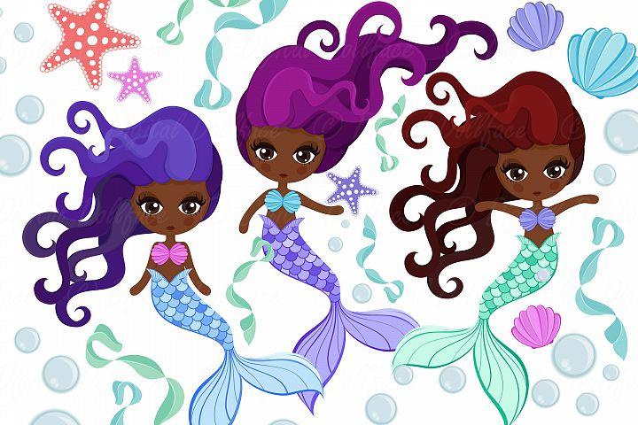 Black Mermaid Clipart, Melanin Girl Designs