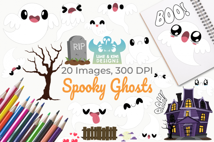 Spooky Ghosts Clipart, Instant Download Vector Art