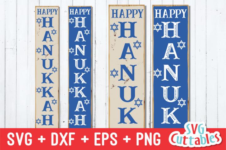 Happy Hanukkah Vertical Sign | Hanukkah SVG Cut File