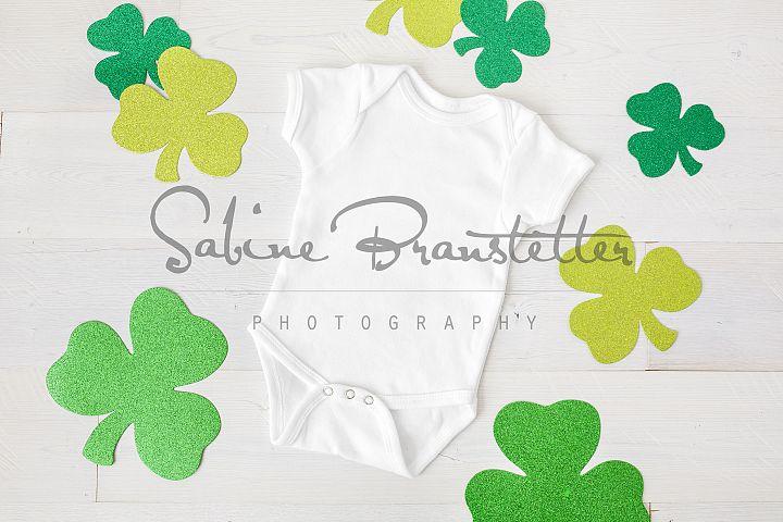 Styled Stock Photo White Bodysuit St. Patricks Day Mock