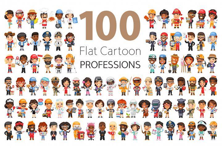 100 Professions Flat Characters