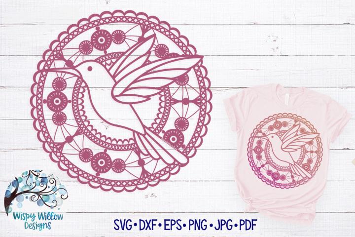Lace Hummingbird Mandala SVG Cut File