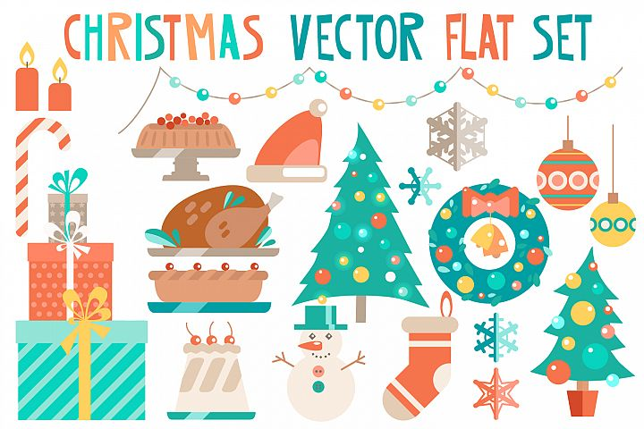 Christmas vector flat set