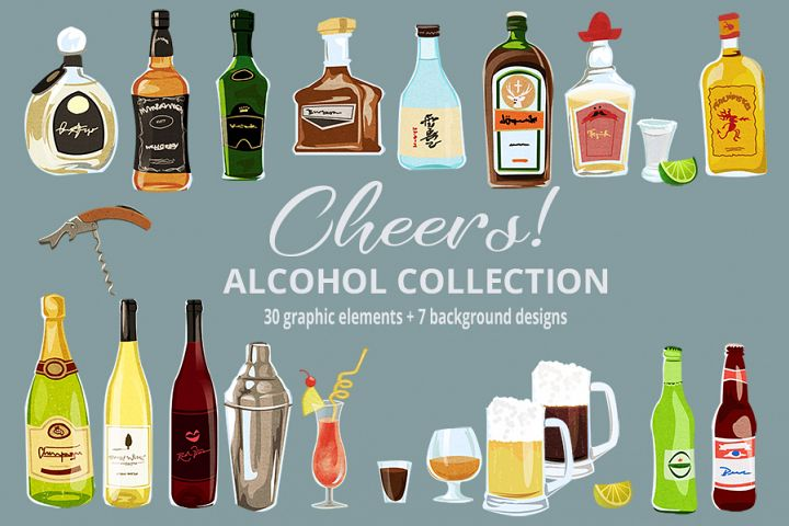 Cheers! Alcohol & Cocktails Clipart & Digital Paper Patterns