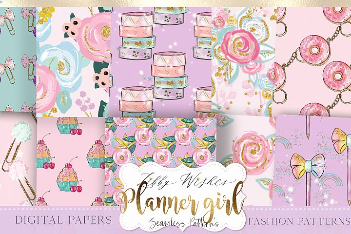 Planner girl Patterns digital papers