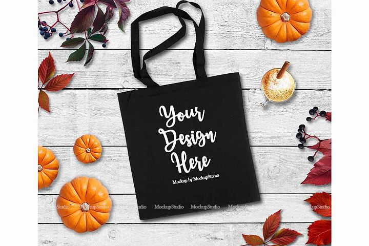 Fall Tote Bag Mock Up Black Canvas Tote Pumpkin Flat Lay