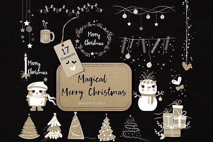 Magical Merry Christmas Doodle Clip Art 02