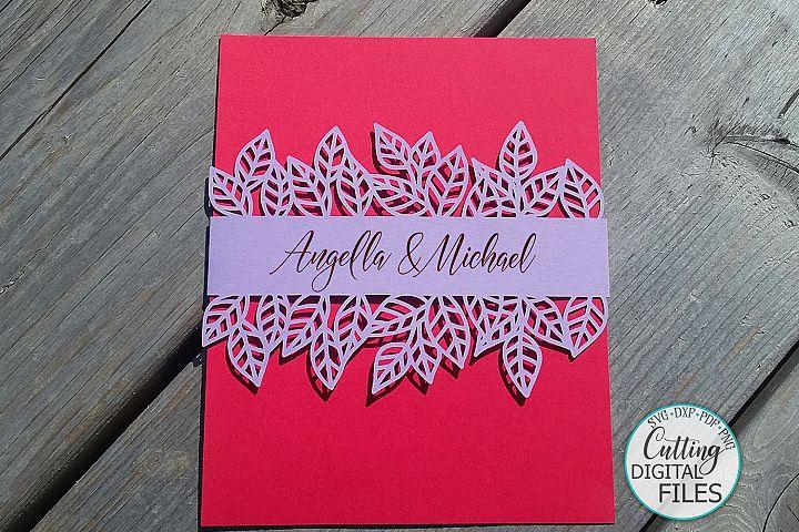 Leaves Belly band wrap Wedding Invitation svg dxf laser cut