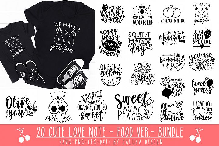 20 Cute Love Notes - Fruits Ver.- Cut File Bundle