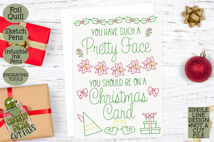 Foil Quill Christmas Card - Pretty Face Elf Quote