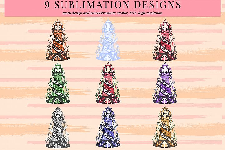 bundle of light house 1 sublimation designs, PNG sublimation