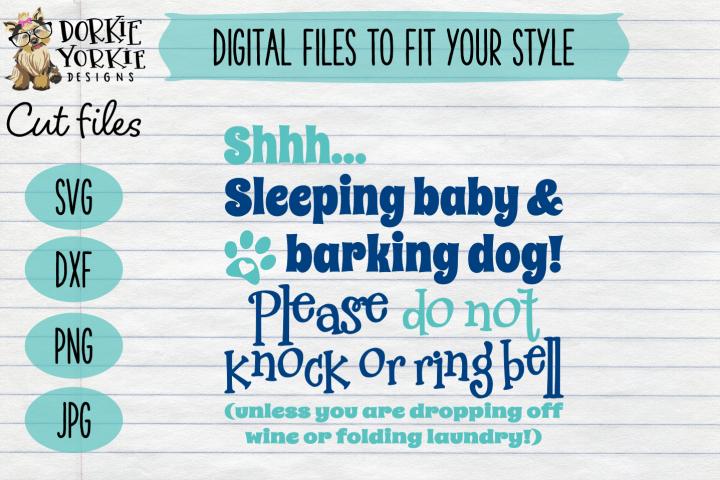 SHHHH Sleeping baby Wine V2 Funny - Knock or ring bell - SVG