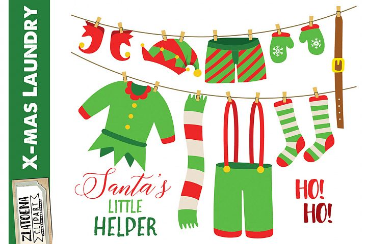 Santas Elf Laundry Clip Art Elf clip art Christmas Clipart