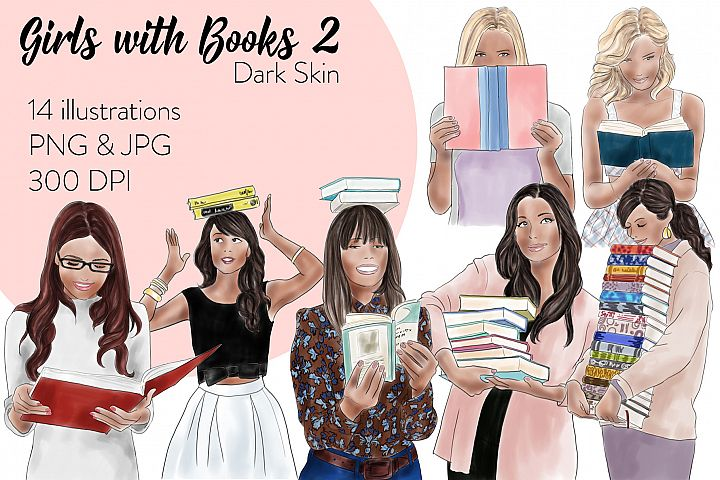 Fashion illustration clipart - Girls with books 2 - Dark Skin