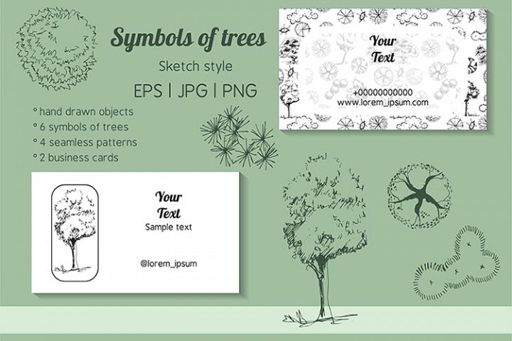 Collection with seamless patterns of symbols of trees.