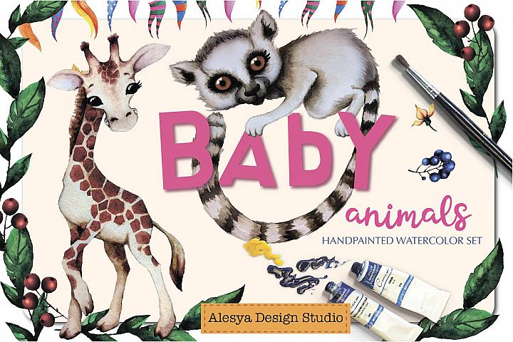 Baby animals. Cute watercolor zebra, hippo, lemur, tiger etc