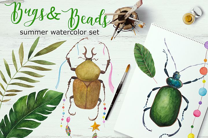 Bugs&Beads. Bright watercolor set