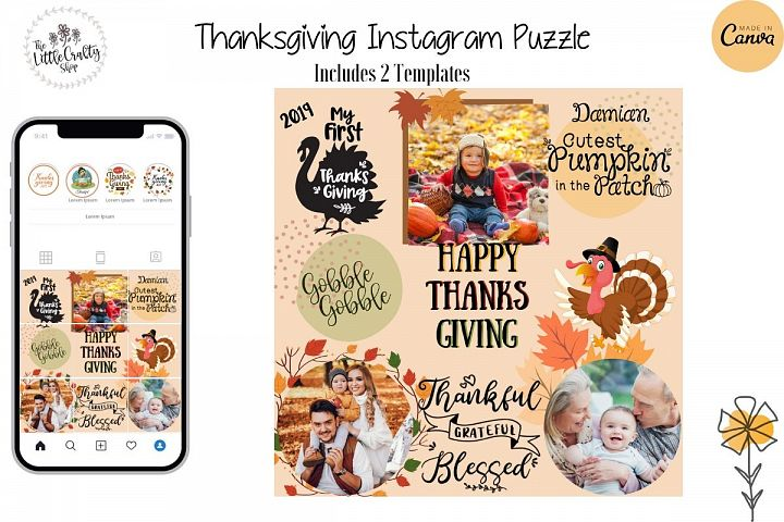 Instagram Puzzle Template - Thanksgiving
