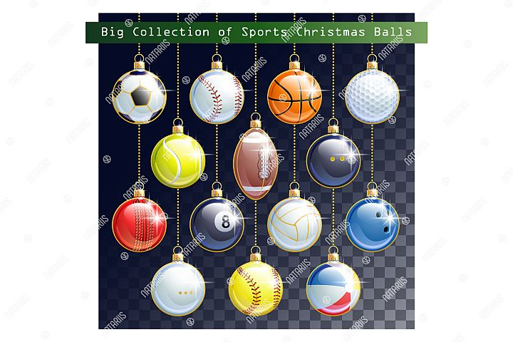 Big Collection of different Sports balls as a Christmas ball