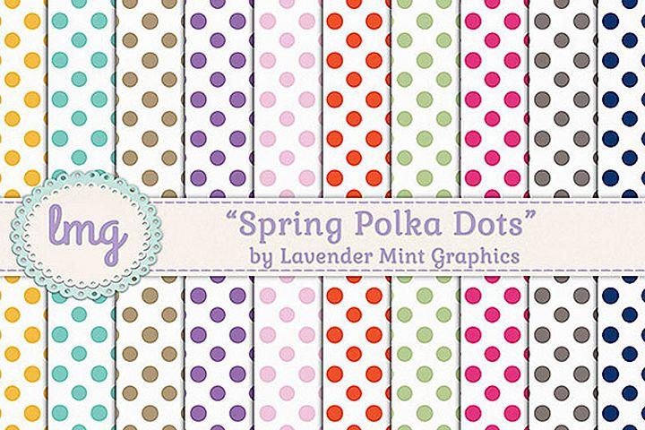 Spring Polka Dot Digital Paper-Pink, Purple, Orange, Green
