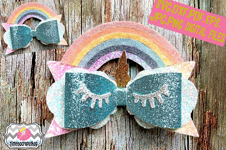 Unicorn Eyelashes Rainbow Cloud Hair Bow Template