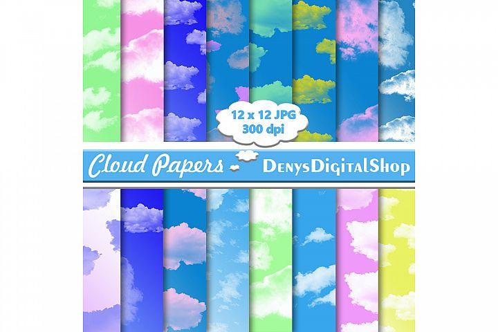 Cloud Digital Paper, Cloud Pattern, Cloud Print, Blue, OFF50