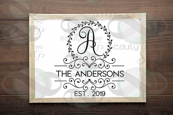 Last Name Monogram initial wreath svg, a-z monogram included