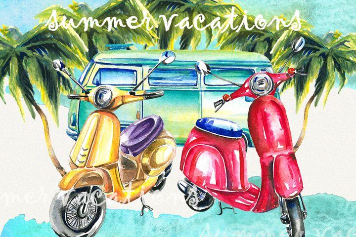 Summer clipart, scooter clipart, van,moto clipart
