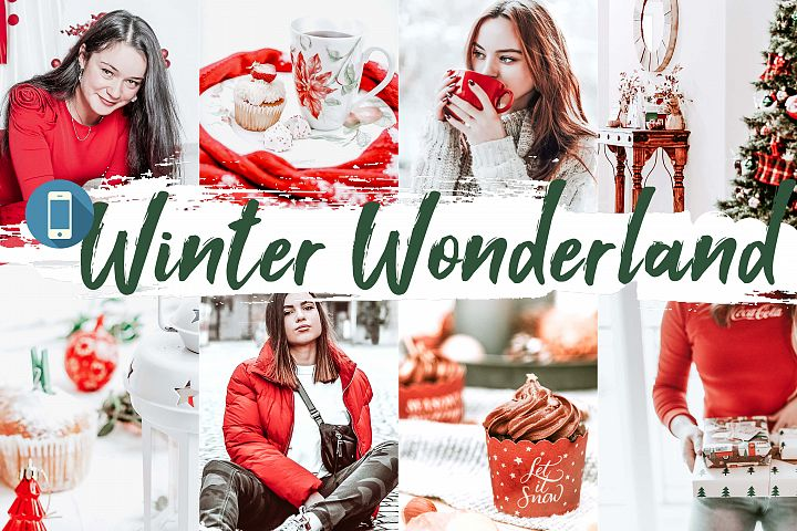 10 Winter Wonderland Mobile Lightroom Presets, Xmas photo