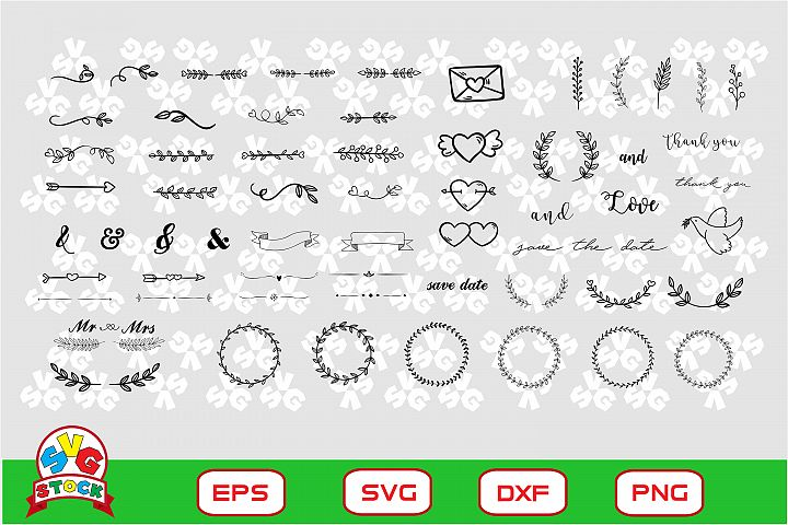 Wedding Ornament svg, Clipart for Sihouette Cameo and Cricut