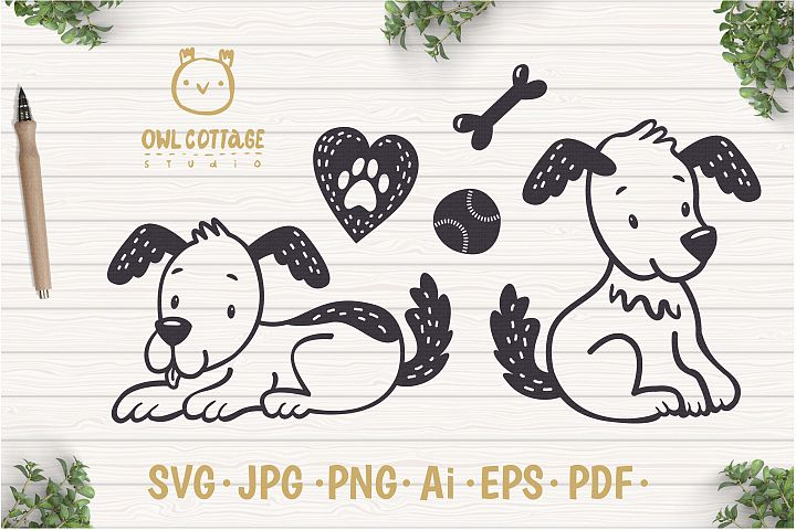 Cute Little Dogs with Heart andToys Svg Set , Puppies Cut Fi