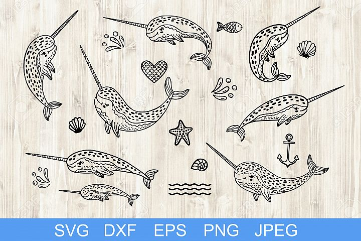 Set of handdrawn cute funny narwhals. Cartoon characters SVG