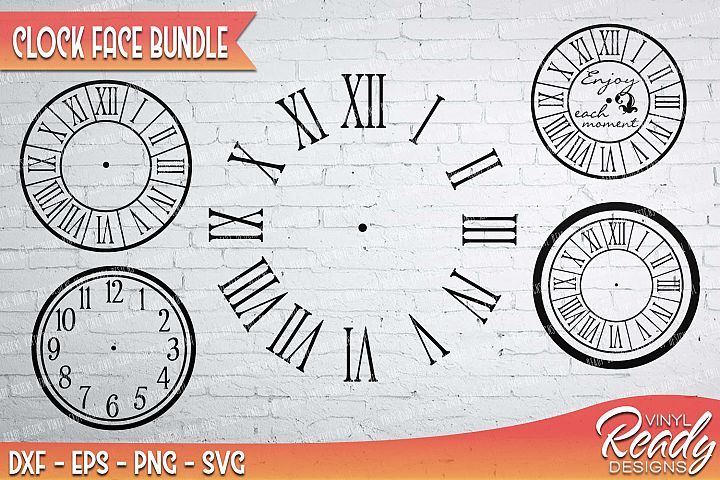 Clock Face Bundle - 5 designs included - Vector Clip Art - Cutting Files - DXF EPS PNG SVG