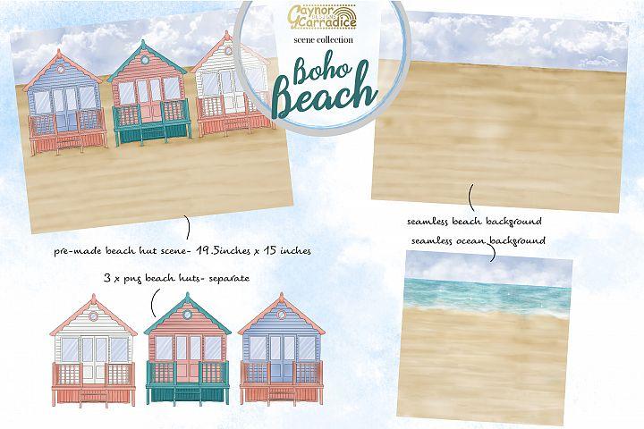 Summer Beach scenes and beach huts clipart