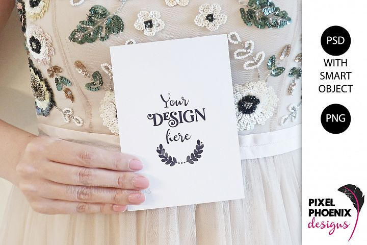 Mockup with hand holding 5x7 card