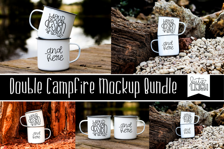Double Stack White Campfire Mug Mockup Bundle