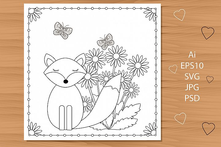 Cute fox and flowers. Coloring page.