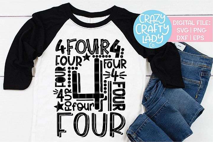 4th Birthday Collage Typography SVG DXF EPS PNG Cut File