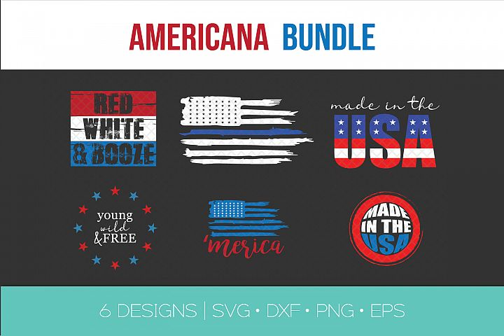 Fourth of July SVG Bundle - Flag - Blue Line - Wild Free USA