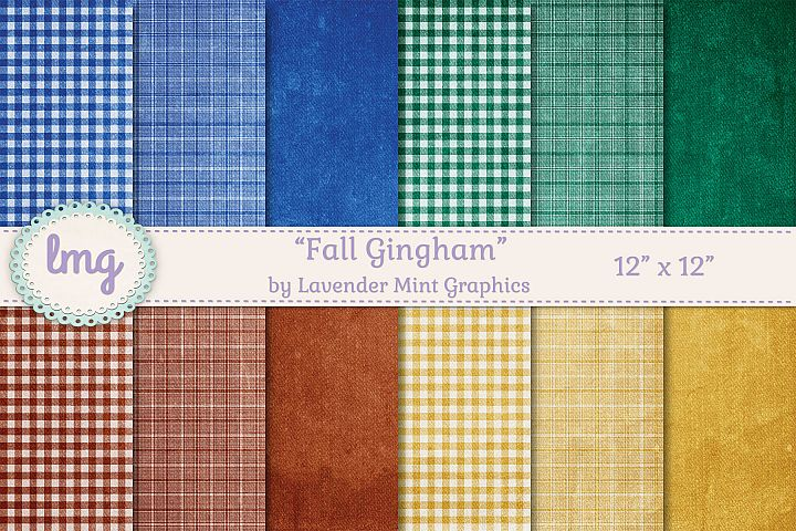 Fall Gingham Plaid Papers in Blue, Green, Red, and Yellow