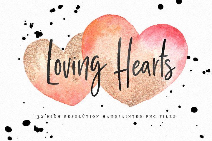 Hearts Watercolor Graphic Set