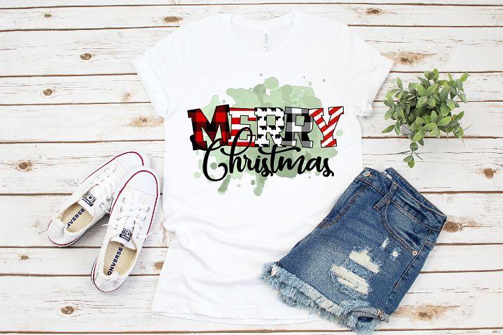 Rustic Buffalo Plaid Print Merry Christmas Sublimation