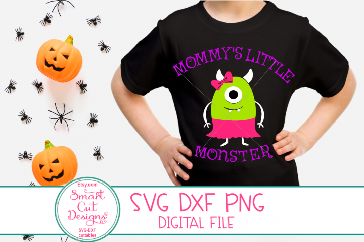 Halloween Svg, Mommys Little Monster SVG, Girl, Bow, Baby