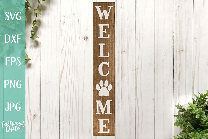 Welcome with Paw Print - A Dog SVG File for Crafters